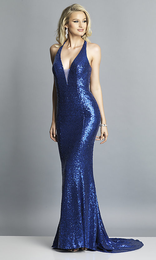 Image of long v-neck sequin Dave and Johnny Prom Dress. Style: DJ-A7832 Detail Image 4