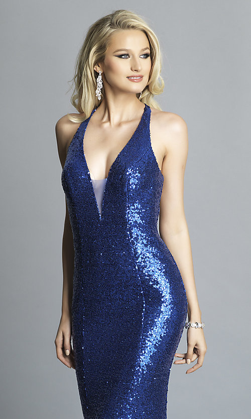 Image of long v-neck sequin Dave and Johnny Prom Dress. Style: DJ-A7832 Detail Image 6