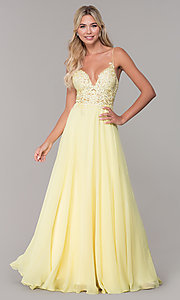 Image of long v-neck prom dress by Dave and Johnny. Style: DJ-A7248 Detail Image 5