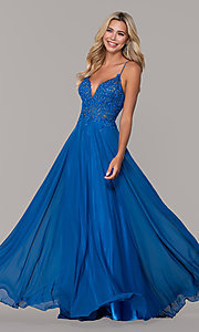 Image of long v-neck prom dress by Dave and Johnny. Style: DJ-A7248 Detail Image 1
