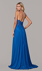 Image of long v-neck prom dress by Dave and Johnny. Style: DJ-A7248 Detail Image 2
