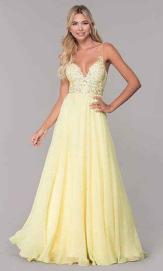 b9d0bf6f13ed Yellow Prom Gowns and Short Yellow Dresses - PromGirl