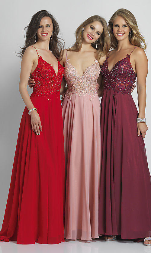 Image of long v-neck prom dress by Dave and Johnny. Style: DJ-A7248 Detail Image 7