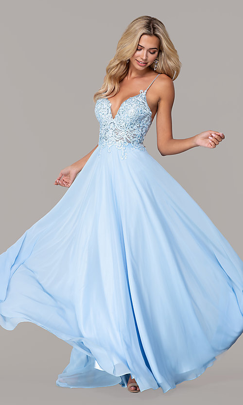 Image of long v-neck prom dress by Dave and Johnny. Style: DJ-A7248 Front Image