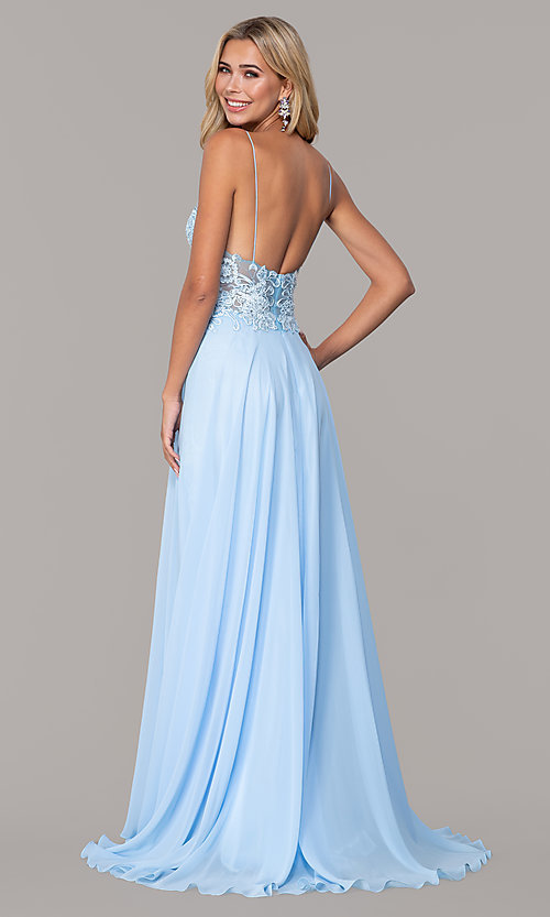 Image of long v-neck prom dress by Dave and Johnny. Style: DJ-A7248 Back Image