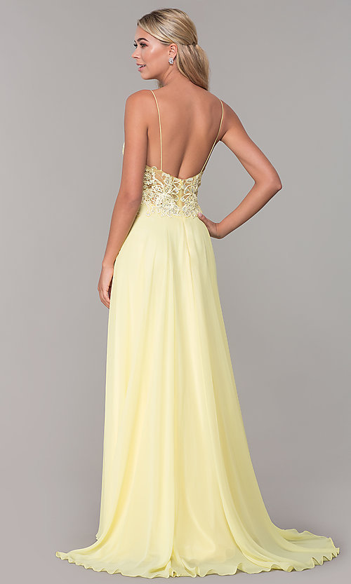 Image of long v-neck prom dress by Dave and Johnny. Style: DJ-A7248 Detail Image 6