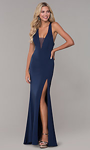 Image of long low-v-neck prom dress with side slit. Style: DJ-A7852 Front Image