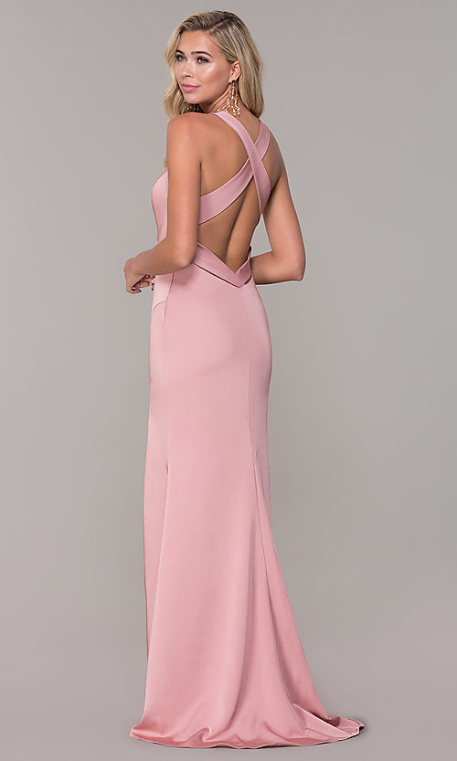 Image of long low-v-neck prom dress with side slit. Style: DJ-A7852 Detail Image 4