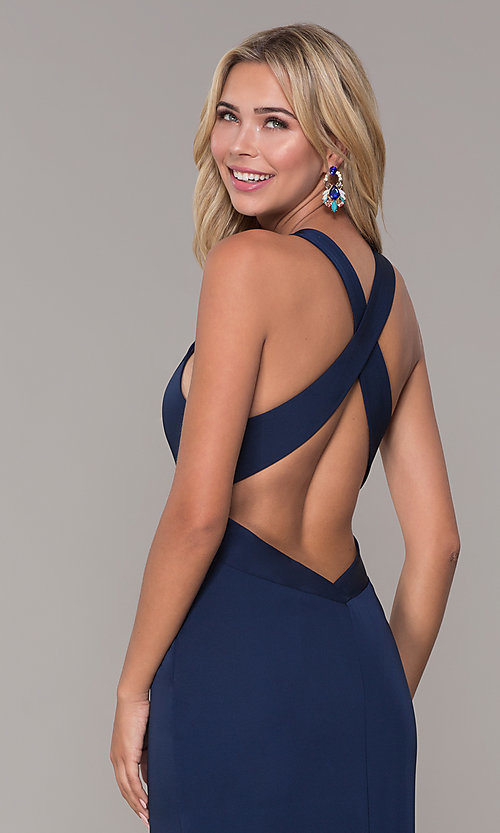 Image of long low-v-neck prom dress with side slit. Style: DJ-A7852 Detail Image 2