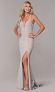 Image of long glitter-knit silver v-neck prom dress. Style: DJ-A6918 Front Image