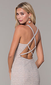 Image of long glitter-knit silver v-neck prom dress. Style: DJ-A6918 Detail Image 2