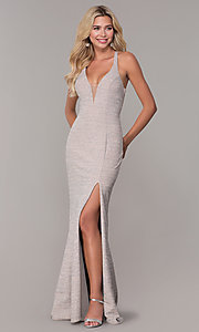 Image of long glitter-knit silver v-neck prom dress. Style: DJ-A6918 Detail Image 3