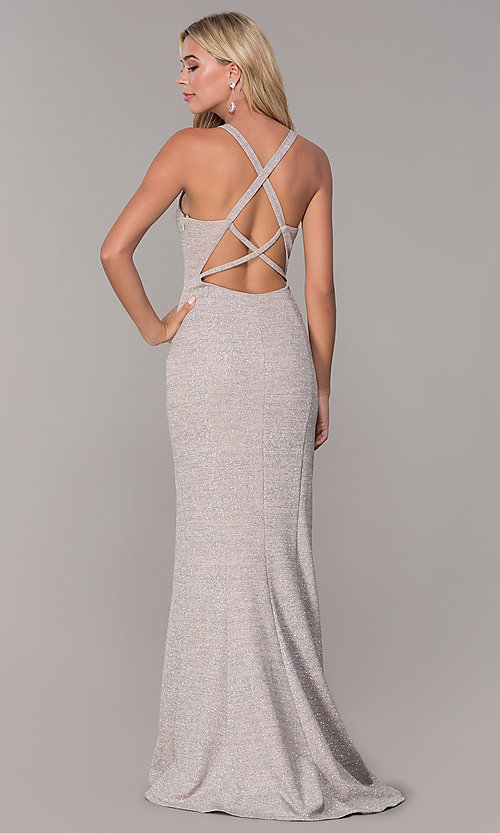 Image of long glitter-knit silver v-neck prom dress. Style: DJ-A6918 Back Image