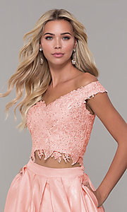 Image of two-piece long off-the-shoulder prom dress. Style: DJ-A7796 Detail Image 1
