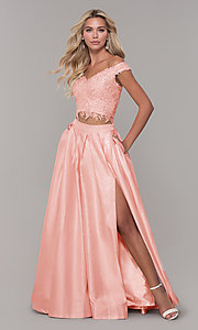 Image of two-piece long off-the-shoulder prom dress. Style: DJ-A7796 Detail Image 3