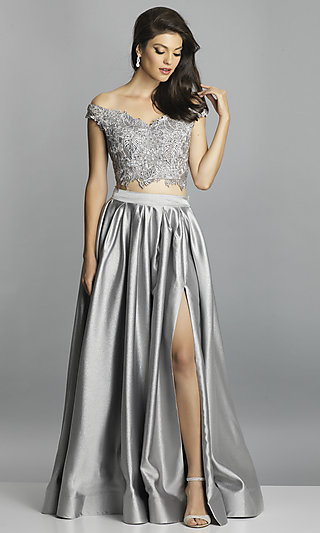 Two-Piece Long Off-the-Shoulder Prom Dress