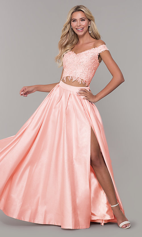 Image of two-piece long off-the-shoulder prom dress. Style: DJ-A7796 Front Image