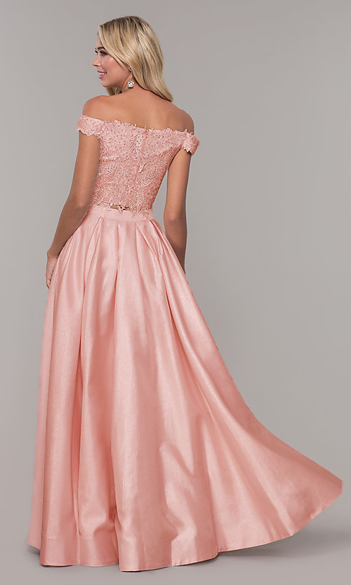 Image of two-piece long off-the-shoulder prom dress. Style: DJ-A7796 Back Image
