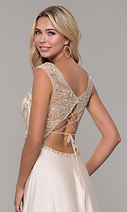 Image of long nude v-neck prom dress by Dave and Johnny. Style: DJ-A7376 Detail Image 2