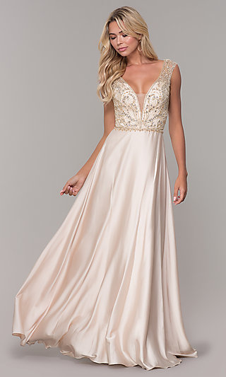 Long Nude V-Neck Dave and Johnny Prom Dress - PromGirl