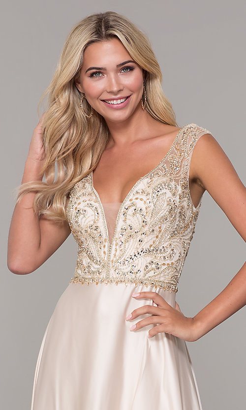 Image of long nude v-neck prom dress by Dave and Johnny. Style: DJ-A7376 Detail Image 1