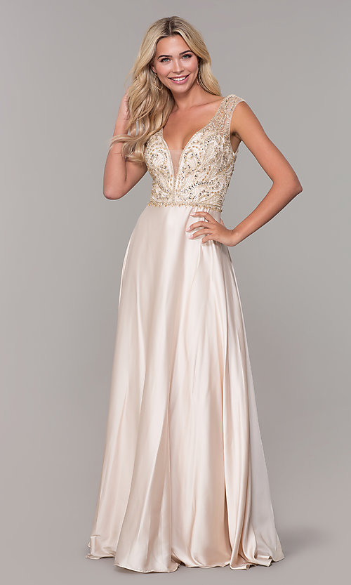 Image of long nude v-neck prom dress by Dave and Johnny. Style: DJ-A7376 Detail Image 3