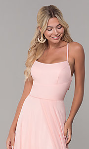 Image of long open-back side-slit prom dress in blush pink. Style: DJ-A7987 Detail Image 1