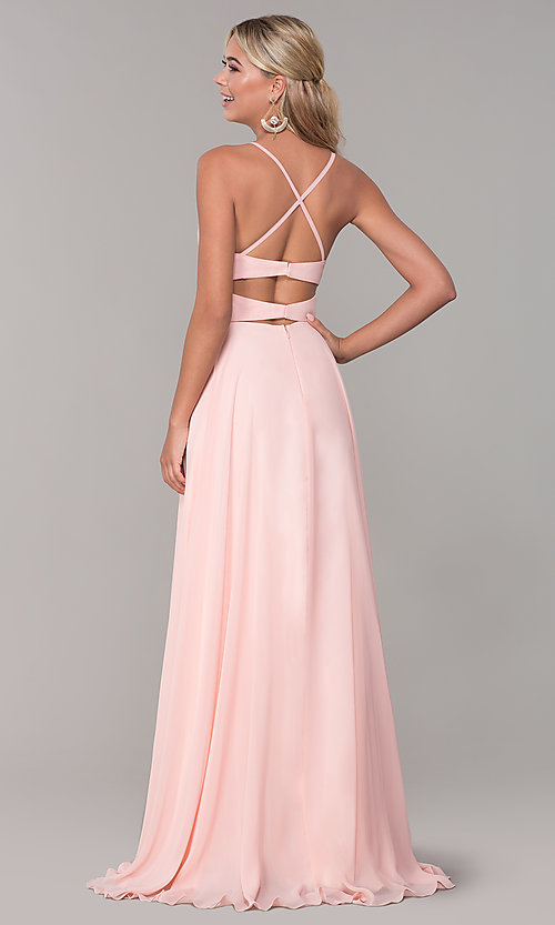 Image of long open-back side-slit prom dress in blush pink. Style: DJ-A7987 Back Image