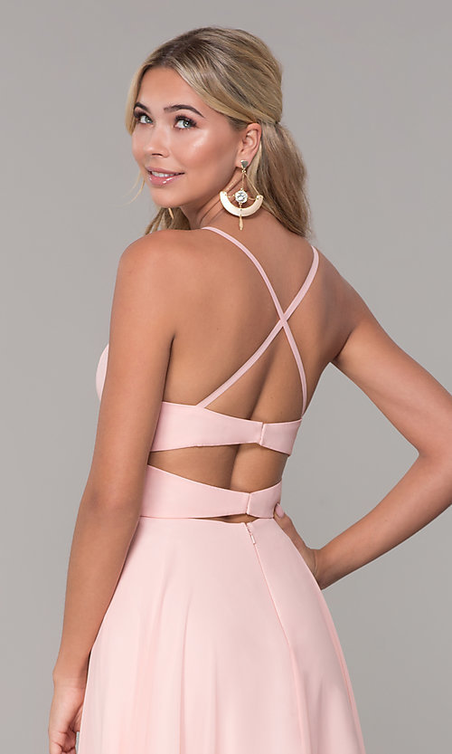 Image of long open-back side-slit prom dress in blush pink. Style: DJ-A7987 Detail Image 2
