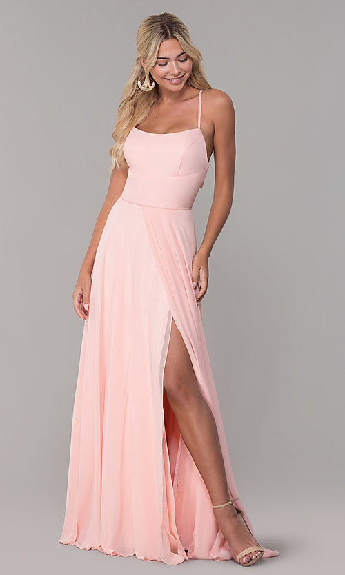 Image of long open-back side-slit prom dress in blush pink. Style: DJ-A7987 Detail Image 3