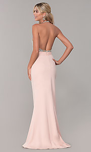 Image of Dave and Johnny halter prom dress in blush pink. Style: DJ-A7866 Back Image