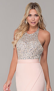 Image of Dave and Johnny halter prom dress in blush pink. Style: DJ-A7866 Detail Image 1