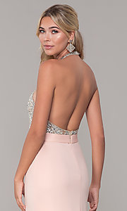 Image of Dave and Johnny halter prom dress in blush pink. Style: DJ-A7866 Detail Image 2