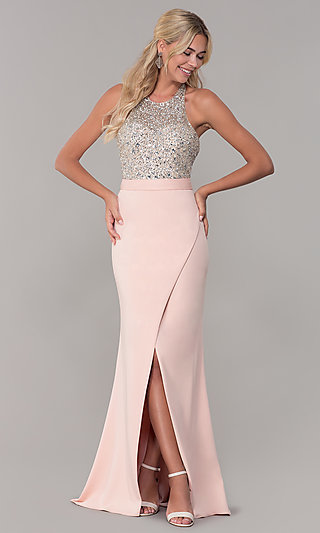 Dave and Johnny Blush Pink Halter Prom Dress
