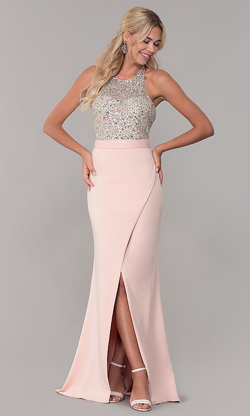 Image of Dave and Johnny halter prom dress in blush pink. Style: DJ-A7866 Front Image