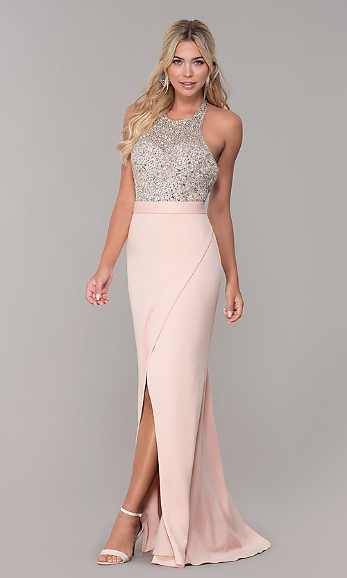 Image of Dave and Johnny halter prom dress in blush pink. Style: DJ-A7866 Detail Image 3