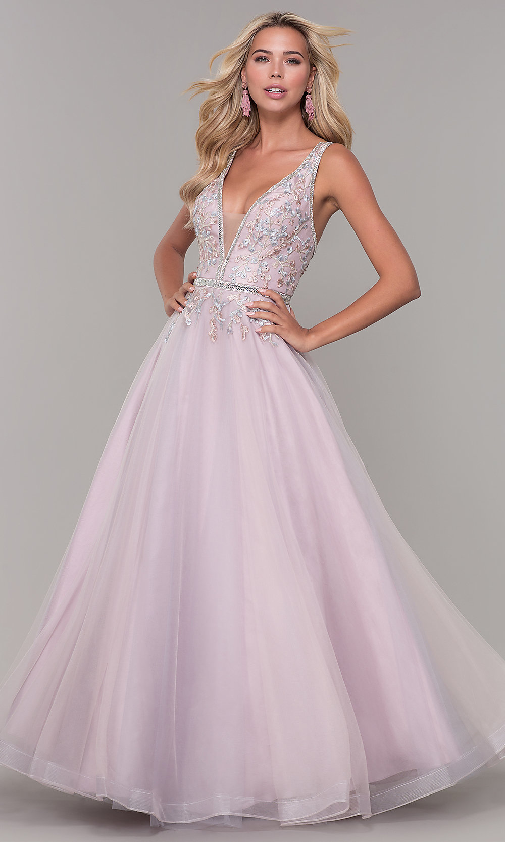 f99a2acbd77 Low V-Neck Prom Dress by Dave and Johnny