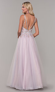 Image of low-v-neck prom dress by Dave and Johnny. Style: DJ-A7927 Back Image
