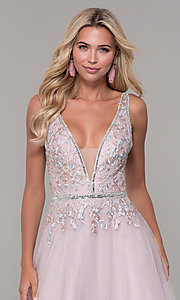 Image of low-v-neck prom dress by Dave and Johnny. Style: DJ-A7927 Detail Image 1