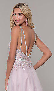Image of low-v-neck prom dress by Dave and Johnny. Style: DJ-A7927 Detail Image 2