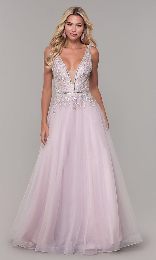 Image of low-v-neck prom dress by Dave and Johnny. Style: DJ-A7927 Detail Image 3