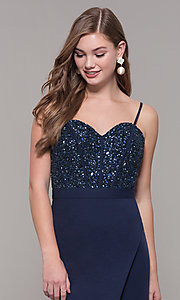 Image of long navy sweetheart prom dress by Dave and Johnny. Style: DJ-A7867 Detail Image 1