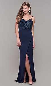 Image of long navy sweetheart prom dress by Dave and Johnny. Style: DJ-A7867 Detail Image 3