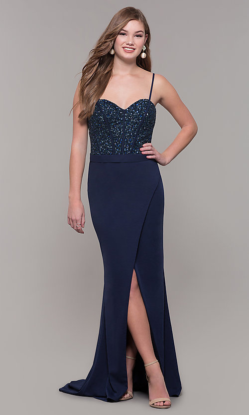 Image of long navy sweetheart prom dress by Dave and Johnny. Style: DJ-A7867 Front Image