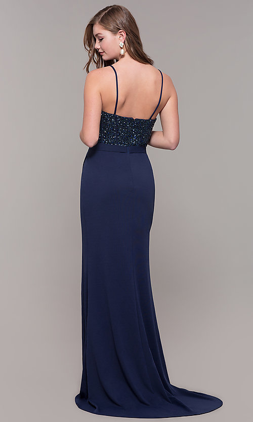 Image of long navy sweetheart prom dress by Dave and Johnny. Style: DJ-A7867 Back Image