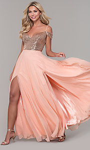 Image of long cold-shoulder prom dress with sequin bodice. Style: DJ-A7197 Front Image