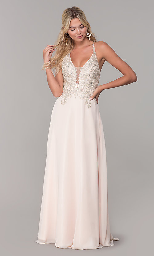 Image of long nude prom dress with embroidered bodice. Style: DJ-A7590 Detail Image 3