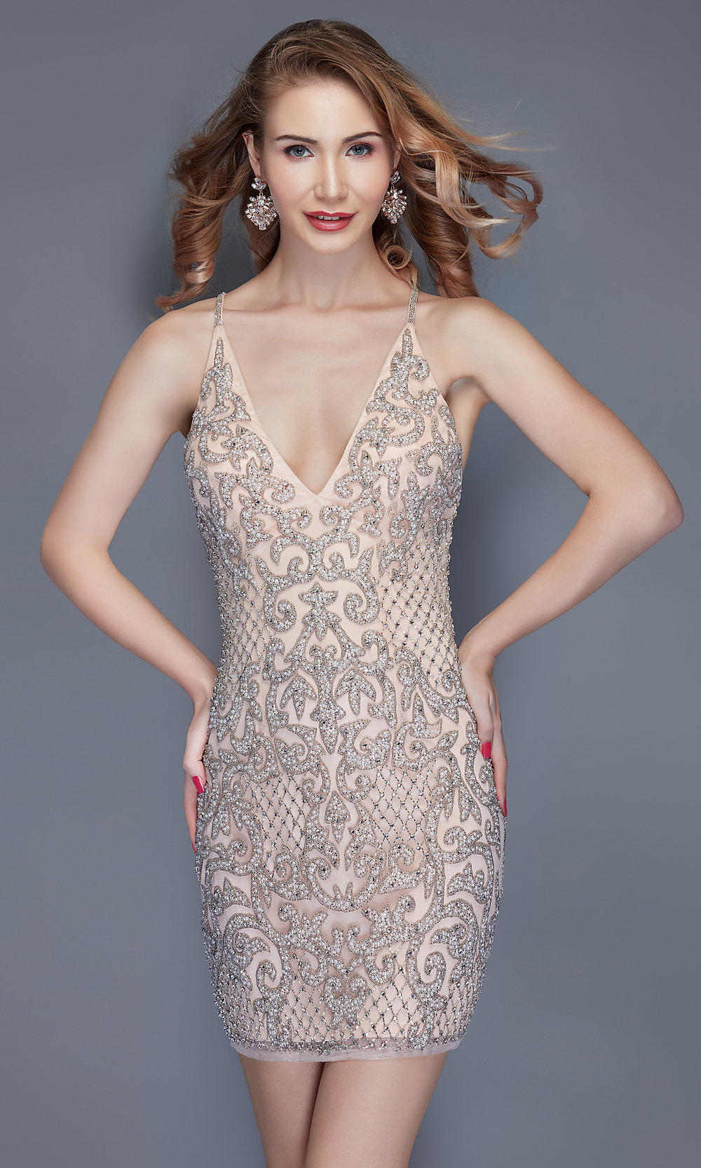 53cb3846f7d Beaded Homecoming Dress with Criss-Cross Straps