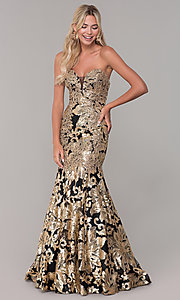 Image of strapless sequin long prom dress by Dave and Johnny. Style: DJ-A6768 Detail Image 4