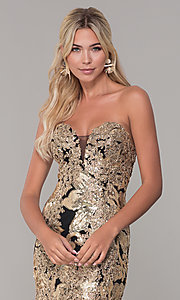 Image of strapless sequin long prom dress by Dave and Johnny. Style: DJ-A6768 Detail Image 1